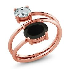 2.11 Ct Oval Black Onyx Sky Blue Aquamarine 18K Rose Gold Plated Silver Ring