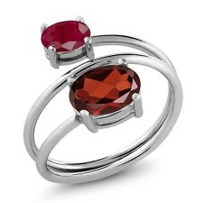2.40 Ct Oval Red Garnet Red Ruby 925 Sterling Silver Open Ring