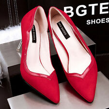 Graceful Ladies Suede Stilettos High Heels Pointed-toe Pumps Office Womens Shoes