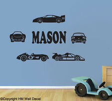 HM Wall Decal Wall Art NEW Personalised Name and Cars Removable Wall Sticker