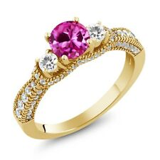2.25 Ct Pink Created Sapphire White Sapphire 18K Yellow Gold Plated Silver Ring