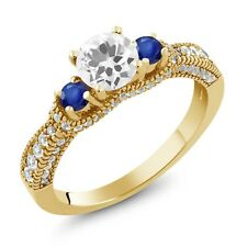 1.95 Ct Round White Quartz Blue Sapphire 18K Yellow Gold Plated Silver Ring