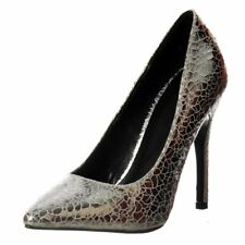 Womens Mid Low Heel Pointed Toe Court Shoes Party Prom Stiletto Silver Size New