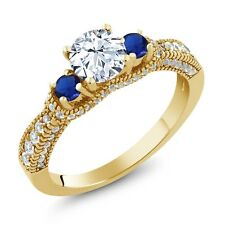 1.75 Ct White Topaz Blue Simulated Sapphire 18K Yellow Gold Plated Silver Ring
