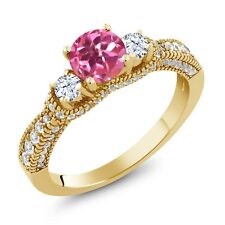 2.27 Ct Round Pink Mystic Topaz White Topaz 18K Yellow Gold Plated Silver Ring