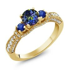 2.25 Ct Round Blue Mystic Topaz Blue Sapphire 18K Yellow Gold Plated Silver Ring