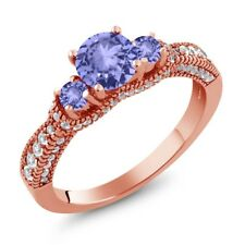 1.69 Ct Round Blue Tanzanite 18K Rose Gold Plated Silver Ring