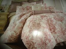 SHERRY KLINE ELIZABETHAN TOILE RED  & CREAM 4PC KING OR QUEEN COMFORTER SET