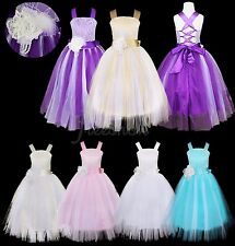 Flower Girl Princess Dress Kid Wedding Bridesmaid Party Pageant Tulle Dresses