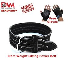 DAM Genuine Leather Gym Heavy Duty Power Weight Lifting Bodybuildying Belt Glove