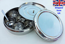 Stainless Steel Indian 7 Spice Tin Box  Spoons Masala Dabba Spices Box Storage