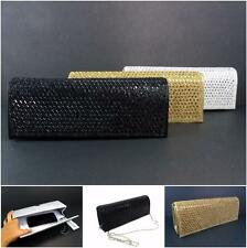 Women's Clutch Purse Shoulder Bag Chain Party Formal Evening Rhinestones Satin