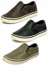 UNISEX CROCS HOVER SLIP ON LEATHER SHINE CASUAL LOAFER SHOES IN 2 COLOURS