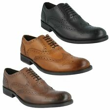 MENS BASE LONDON LEATHER LACE UP BLACK TAN BROWN BROGUE FORMAL SHOES WALNUT MTO