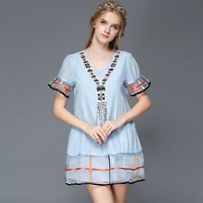 Womens Summer Simple Printing Short Sleeve V Neck Casual Mini Shift Dress Blue