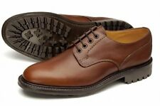 EPSOM- MENS LOAKE BROWN WAXY LEATHER SMART LACE UP DERBY SHOES COMMANDO SOLE