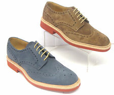 Mens Loake Oiled Suede Leather Lace Up Formal Shoes Navy/Brown Logan