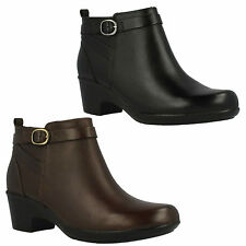 MALIA HAWTHORN- LADIES CLARKS BLACK, BROWN LEATHER ZIP UP WIDE FIT ANKLE BOOTS
