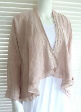 Fabulous Italian linen waterfall style Jacket with Sequin trim – Sophie