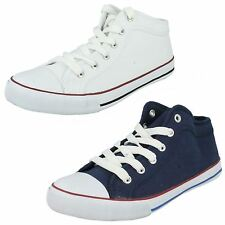 Ladies Spot On Lace Up Canvas Shoes the Style - F8814