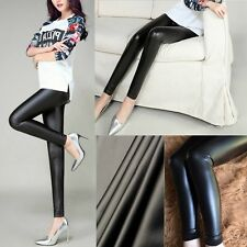 Sexy Women Wet Look Shiny Black Faux Leather Stretch Skinny Pants Leggings