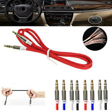 1M Nylon Braided 3.5mm Male To Male Stereo Audio AUX Cable Cord For iPod MP3 Car