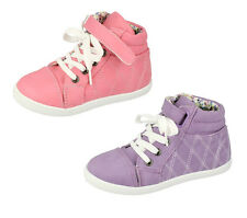 H4098 GIRLS HIGH TOP QUILTED TRAINER SHOES CASUAL PINK & PURPLE ANKLE BOOTS