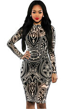 Vintage Tribal Tattoo Print Dress women long sleeve party club midi dresses