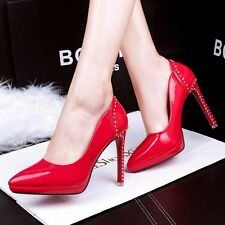 Sexy Stiletto Pointy Toe High Heel Pumps Shallow Rhinestone Platform Women Shoes