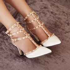 New Women Shoes Fashion Sexy Stiletto Rivet Strappy Pointy High Heels Work Pumps