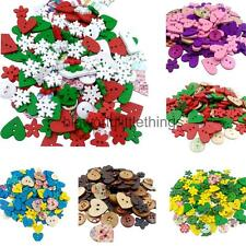 Mixed Color DIY Craft Wooden Buttons Kid's Scrapbooking Tailor's Sewing Flower