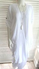 Gorgeous Italian linen lagenlook tunic dress with quirky hemline and sleeves ...