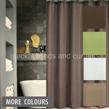 QUICKFIT SHOWER CURTAIN + 12 DECORATIVE HOOKS MODERN DOBBY GREEN BROWN  WHITE