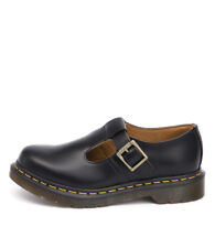 New Dr. Martens Polley Mary Jane Black Smooth Women Shoes Casuals Flats Flats