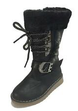 Toddler Girls Black Fashionable Fuzzy Boots w/ Lace and Buckle, Comfortable, New