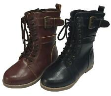 Toddler Girls Combat Lace Up Boots w/ Zipper - Brown and Black