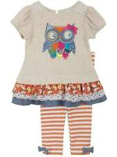 Rare Editions Oatmeal Orange Owl Legging Set  2T 3T 4T 5 6 6X