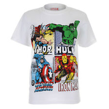 Boys Official Boys Marvel Comics Super Heroes White Crew Neck Short Sleeve T-shi