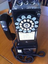Retro Telephone Corded Diner Wall Mount Vintage Phone Push Dial Tone House Black