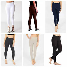 NEW WOMENS LADIES FULL LENGTH SKINNY FIT STRETCH COTTON LEGGINGS PLUS SIZE 8-22