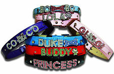 Personalized Dog Collar Free Name & Charm 9 color For Medium to Large Dog Bling