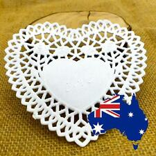 "50 100 200 4"" White Heart Paper Lace Doilies Wedding Craft Party Cake Scrapbook"