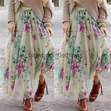Vintage Womens Boho Floral Long Maxi Dress Full Skirt Summer Beach Sun Dress