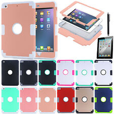 Cover For Apple IPad Mini123/mini4 3in1 Silicone PC Hybrid Shockproof Case Skin