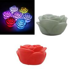 7 Colors Romantic Changing LED Floating Rose Flower Candle Night Light Christmas