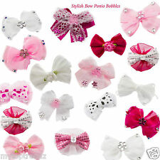 Girls Pretty Hair Bobbles Bow Chiffon Satin Flower Soft Baby Ponio [UK SELLER]