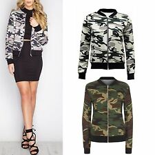 Women Long Sleeve Zip Up Contrast Camouflage Army Print Ladies Bomber Jacket