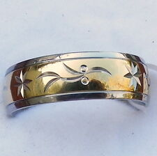 Men's Traditional Titanium Wedding Engagement Band Two Tone Gold IP Center Ring