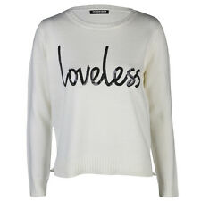 Fashion Union Ladies Cream and Black Loveless Sequin Detail Sweater