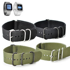 KR-NET 22mm MOD Nylon Fabric Strap Watch Band for Pebble Time/ Time Steel US